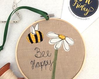 Bee Happy decorative hanging hoop