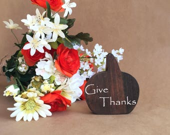 Give Thanks Wooden Pumpkin - Fall Decor - Pumpkin Decor - Thanksgiving Decor - Wood Pumpkin - Autumn Decor - Custom Fall Decor - Give Thanks