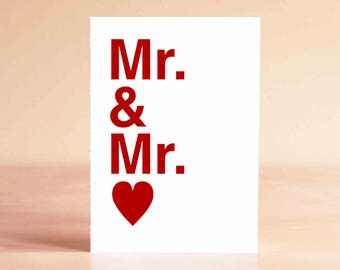 Engagement Gift - Gay Wedding Card - Gay Wedding Gift - Gay Engagement Card - Mr. & Mr.