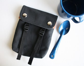 Belt Loop Snap Pouch  - Charcoal + smokey