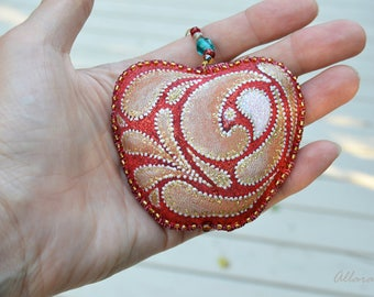 Red Apple Textile Ornament Handpainted. Red -Gold Ornament. Hand Made Silk Fabric Ornament. Ready to ship.