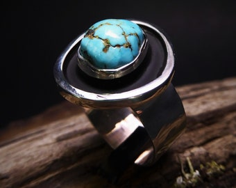 Natural Colorado Turquoise Ring- Cripple Creek Turquoise Ring