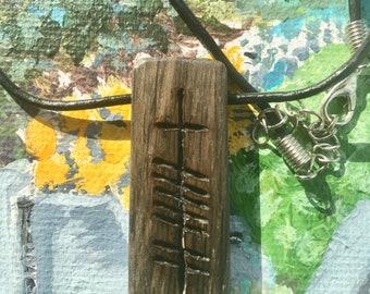 "Irish Bog Oak Ogham Pendant ""Gra"""