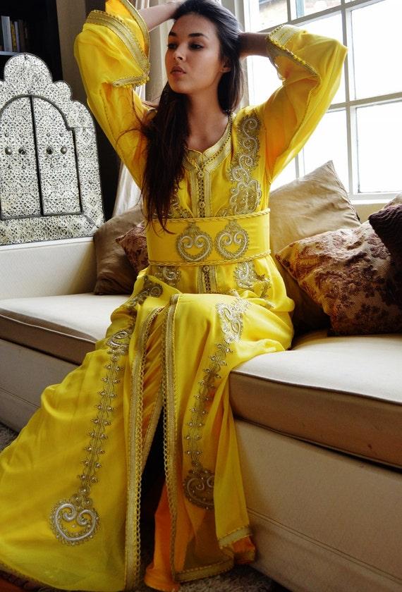 Moroccan Modern Yellow Embroidery Caftan Kafan-Khadija-moroccan parties, weddings,abbayas, honeymoon, birthday, anniversary gift