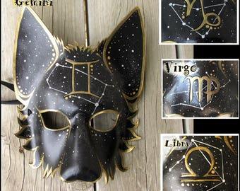 Wolf Mask, Zodiac, Leather,  Gemini, Mystic, Western Zodiac Symbol w corresponding Constellation, All symbols available! Animal mask, LARP
