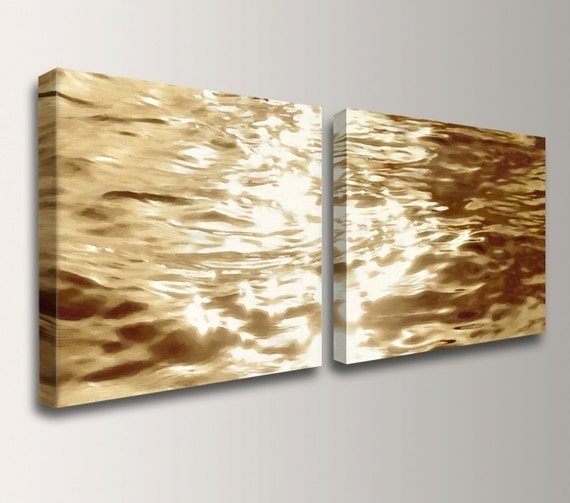 """Beach Art - Canvas Print - Gold Water Reflections - Wall Decor Set - Pair of 2 Canvas Prints - """"Goldwater"""""""