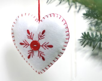 Felt Christmas Ornament, Handmade heart ornament, Red and white snowflake ornament, Scandinavian ornament, Heart Christmas ornament
