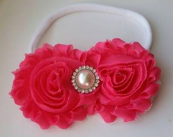 Hot Pink nylon headband w/pearl and rhinestone accent, nylon hair bow, baby headband, infant headband, photo prop, hair bow, chiffon flower