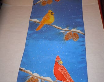 "Hand painted silk scarf wallhanging ""cardinals in snow""; blue scarf, wearable art. #S159"