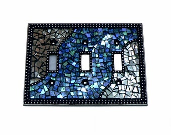 Mosaic Switch Plate - Light Switch Cover - Triple Switch Plate - Blue Switch Plate - Silver Switch Plate - Blue Switch Plate