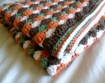 Shell Stripes Baby Afghan - Shell Stripes Baby Blanket - Shell Baby Afghan - Shell Baby Blanket - Reversible Baby Blanket