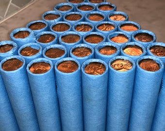 BLUE WHEAT PENNIES Cent Roll with Bu Penny Showing U.S. Coin Lot Estate Collection Vintage Currency Money Fast Shipping