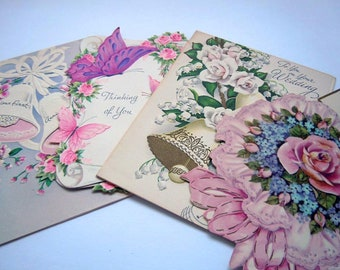 Vintage Pretty Pink and Purple Butterfly Greeting Cards Lot