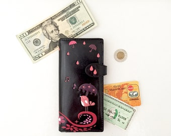 Womens Wallet - Vegan Leather Wallet Women - Coin Pocket - Snap Closure - Travel Wallet Vintage Wallets Woman Wallet Ladies Wallet