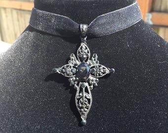 Black Velvet Choker with Cross Pendant
