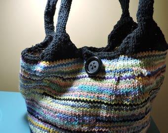 Hand knitted cotton yarn HOBO bag, gym bag, market bag, beach bag, MULTICOLORED