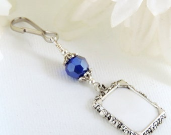 Wedding bouquet photo charm - royal blue crystal. Something Blue bridal bouquet charm. Sister gift. Bridal shower gift.