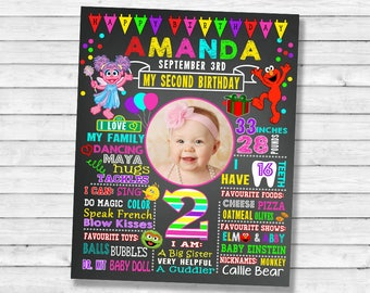 Printable Elmo Sesame Street Birthday chalkboard Party chalk board milestone poster banner sign  girl abby cadabby with photo picture (051)