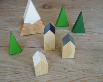 SET: Customize 1 Snow Capped Mini Peak Mountain +  Happy Little Neighborhood + 3 Mini Forest Trees wood house mountain snow village waldorf
