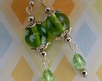 Earrings, Light Green Glass Bead with White Polka dots, Light Green Swarovski Tear Drop Crystal and Antique Silver Components