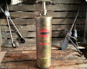 """Old Brass Fire Extinguisher - Small Vintage 13"""" Automobile Portable Hand Pump Type"""