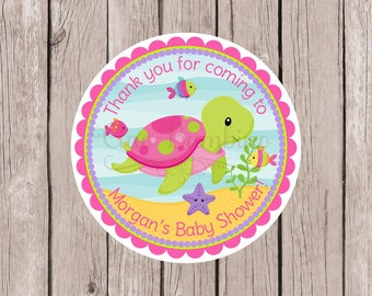Under the Sea Baby Shower Party Favor Tags or Stickers / Baby Girl Tags / Pink and Purple Ocean Invitation Turtle & Fish / Set of 12 - 0022