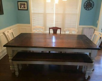 Farmer dining room table and bench