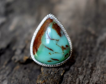 Chrysoprase 925 Solid sterling silver Ring - Silver gemstone Handmade Ring - chrysoprase ring - Drop shape ring #663