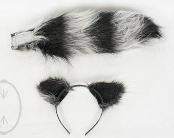 Raccoon costume etsy small raccoon furry ear andor 16 tail with black tip set cosplay solutioingenieria Choice Image