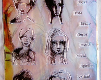 Gal Quotes Dina Wakley Media Clear Acrylic Stamp & Stencil Set MDZ49517 NEW!
