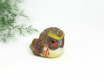 Owl Figurine Boho Decor Multi-Colored Brown Orange Beaded Animal Totem Stocking Stuffer Woodland Fantasy Fairytale Gift *READY TO SHIP