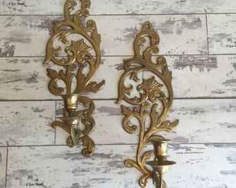 Vintage Brass Wall Sconces - Candle Holders - Pretty Filigree Design