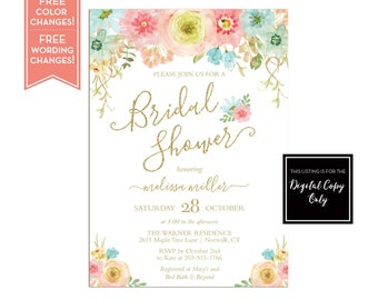 Bridal Shower Invitation Brunch and Bubbly - Floral Bridal Shower - Baby Shower - Wedding Shower - Floral Invitation - Printable - LR1058