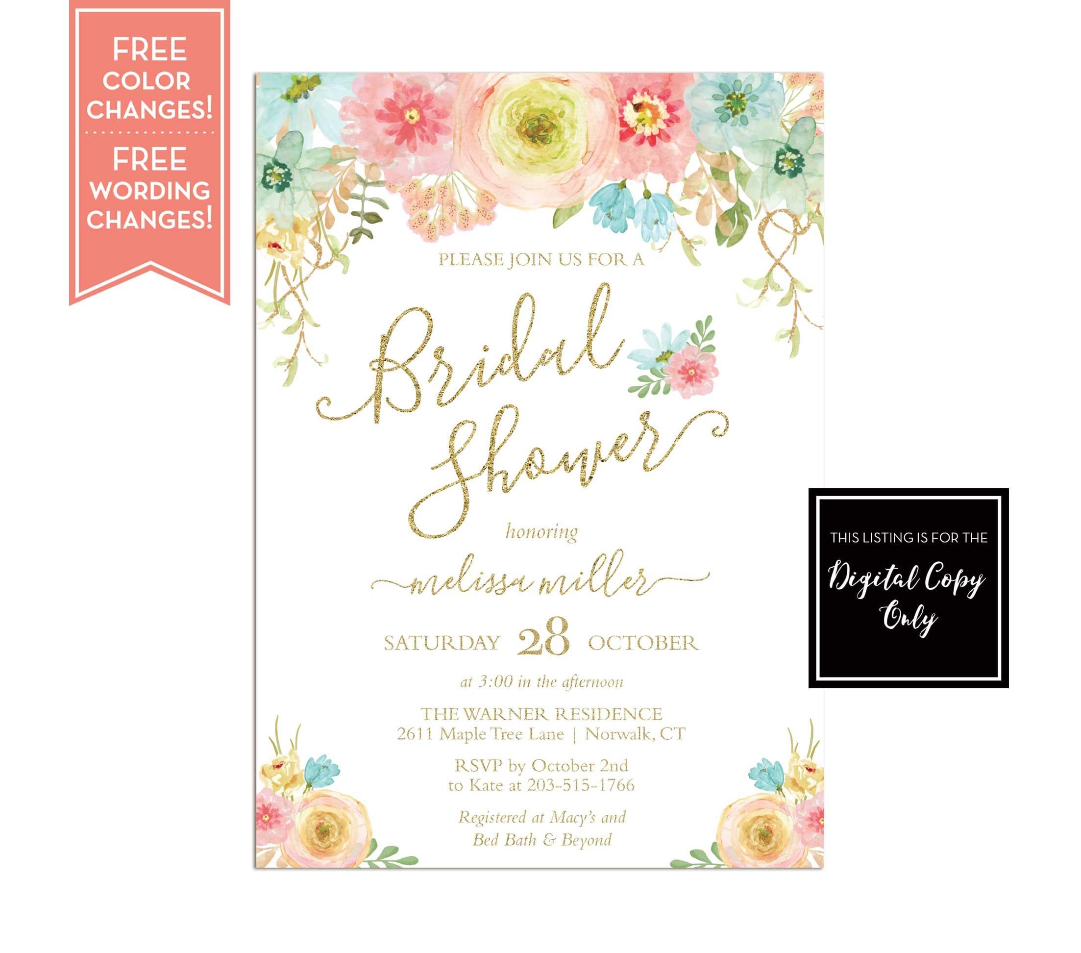 Bridal Shower Invitation Brunch and Bubbly Floral Bridal