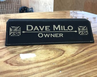 Laser Engraved Leather Name Plate