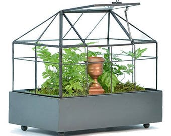 Glass Terrarium, Rectangular Succulent Planter Container, H Potter Wardian Case, Wedding Gift, Fairy Garden, Centerpiece, Home Decor