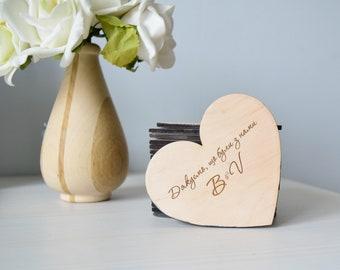 Wooden heart - logo or name engraved - laser cut  - wedding - wood heart - wedding decor