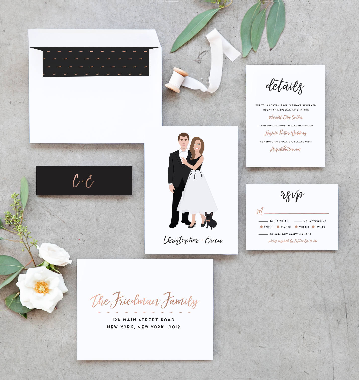 Portrait Wedding Invitations with Couple Portrait Wedding