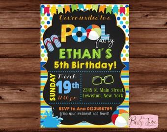 Pool Party Invitation - Boy Pool Party Invitation - Pool Party Birthday Invitation - Summer Birthday Invitation - Pool Party Invite. DIGITAL