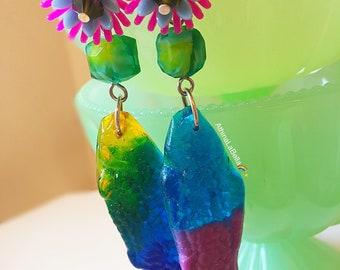 Vintage Flower Resin Fish Earrings, Koi Fish Earrings, Tiki Earrings, Pinup Jewelry, Kitschy Jewelry, Resin Jewelry, Candy Jewelry