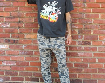 Rare 1993 Vintage Looney Tunes chemise noire grande