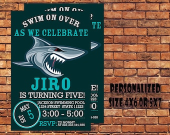 Shark Invitation,Shark Birthday Invitation,Shark Birthday Party Invitation,Shark Party,Shark Printable,Shark Digital Download,Personalized.