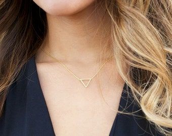 Triangle necklace - gold filled necklace -minimalist
