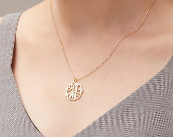 Monogram Necklace / Gold Monogram Necklace / Personalized Monogram Necklace / Bridesmaid Gift / Mother's day gift - HN13_F177