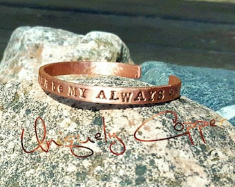 7th Anniversary, Copper Anniversary, Copper Cuff Bracelet, Hand Stamped Copper, Anniversary Gift, Mother's Day, Bracelets, Personalized Gift