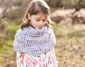 Cowl Crochet Pattern, Sizes Toddler, Child, Youth, Adult, The Plum Creek Cowl, super bulky yarn cowl, basketweave stitch, beginner pattern