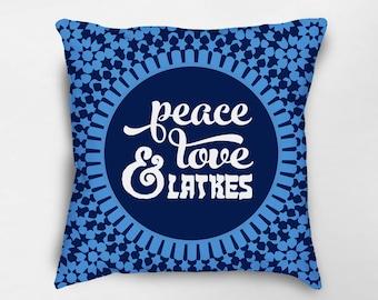 Hanukkah Pillow, Hanukkah Decor, Hanukkah Decorations, Jewish Holiday Decor, Festival of Lights, Peace Love and Latkes, Happy Hanukkah
