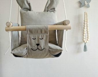 Baby Swing, Bunny Baby Swing, Kids Swing, Childrens Swing, Baby Hammock, Kids Hammock, Gray Baby Swing, Indoor Swing, Swinging chair, Swing