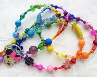RAINBOW MINNIE- Beaded ID Lanyard- A Kaleidoscope of Beads- Lampwork, Millefiore, Pearls, Crystals, and Minnie Mouse Charm (Magnetic Clasp)
