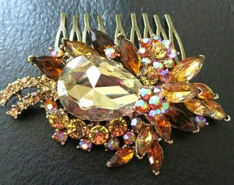 Wedding Hair comb Champagne Amber- Bridal Hair Comb  Topaz  Rhinestone Bridal Hair Comb Bridal Jewelry